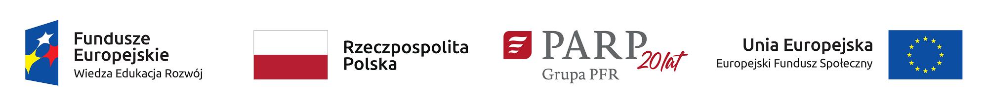 Logotypy Funduszy Europejskich, programu operacyjnego Wiedza Edukacja Rozwój, Rzeczpospolitej Polskiej, Polskiej Agencji Rozwoju Przedsiębiorczości iUnii Europejskiej