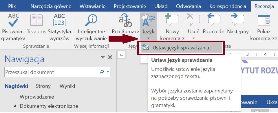 Zrzut ekranu narzędzia Język zewstążki Recenzja zzaznaczoną opcją Ustaw język sprawdzania