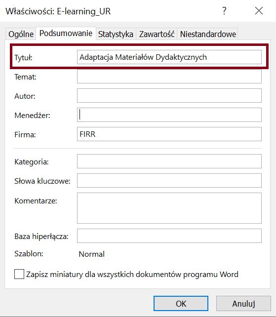 Zrzut ekranu okna dialogowego Właściwości zaawansowane, zakładka Podsumowanie zzaznaczonym Tytułem