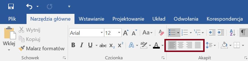 Zrzut ekranu sekcji Schowek, Czcionka iAkapit zewstążki Narzędzia główne zzaznaczoną opcją Wyrównaj dolewej