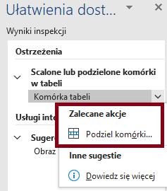 Zrzut ekranu wstążki Recenzje zzaznaczoną opcją ułatwienia dostępu wprogramie Microsoft Word