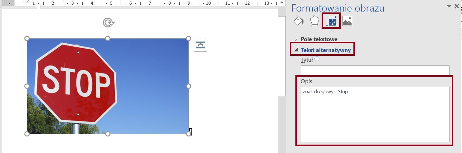 Zrzut ekranu panelu Formotowanie obrazu zzaznaczoną sekcją Układ iwłaściwości orazzaznaczonym iwypełnionym polem Opis