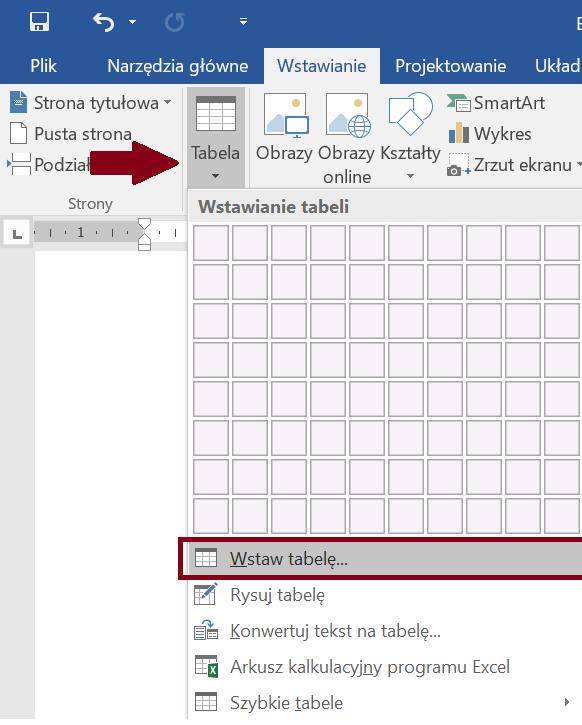 Zrzut ekranu narzędzia Dodaj tabelę zzaznaczoną opcją Wstaw tabelę zewstążki Wstawianie
