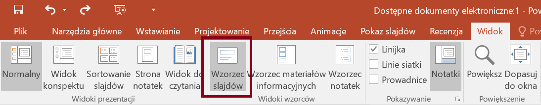 Zrzut ekranu wstążki Widok, sekcja Widoki wzorców zzaznaczoną opcją Wzorzec slajdów