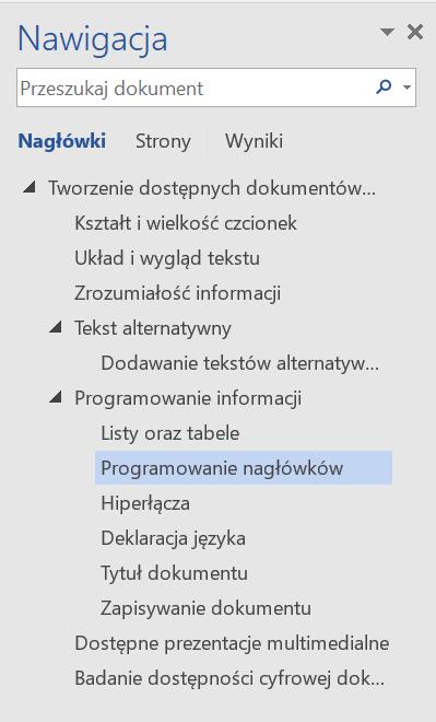 Zrzut ekranu panelu Nawigacja zopcją Nagłówki ipodglądem fragmentu struktury nagłówków