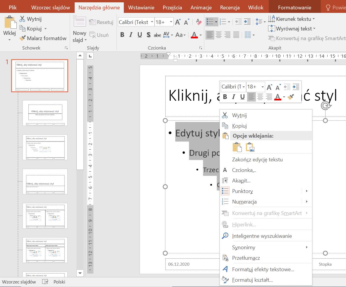 Zrzut ekranu widoku prezentacji weWzorcu slajdów zzaznaczonym tekstem iotwartym menu kontekstowym