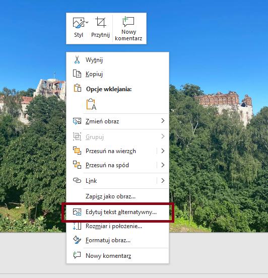 Zrzut ekranowy opcji edycji tekstu alternatywnego wPowerPoint.