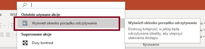 Zrzut ekranowy wyszukiwania frazy wyświetl okienko porządku odczytywania wPowerPoint.