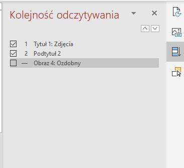 Zrzut ekranowy opcji wyświetl okienko porządku odczytywania wPowerPoint.