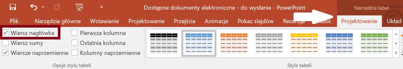 Zrzut ekranu karty Narzędzia tabel zzaznaczoną wstążką Projektowanie, sekcja Opcje stylu zzaznaczoną opcją Wiersz nagłówka
