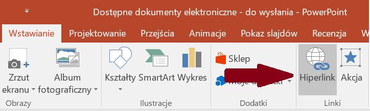 Zrzut ekranu wstążki Wstawianie zzaznaczoną opcją Hiperlink
