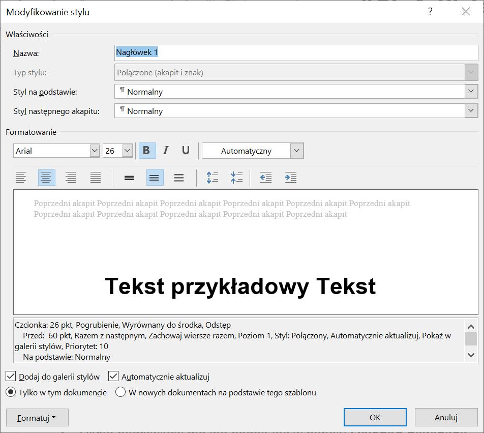 Zrzut ekranu okna dialogowego Modyfikowanie stylu