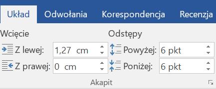 Zrzut ekranu Narzędzi Odstępy wsekcji Akapit nawstążce Układ wprogramie Microsoft Word